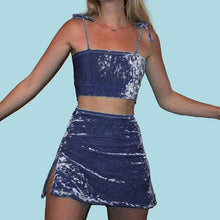Kinky Cloth Skirt Blue / L Velvet Crop Top Skirt Set