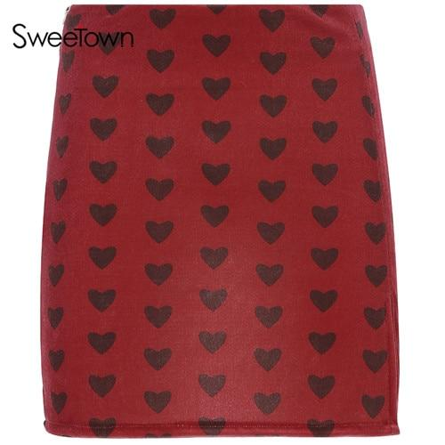 Kinky Cloth Skirt red / L Velvet Hearts Skirt