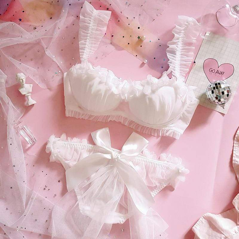 White Ruffle Bra & Panties Set