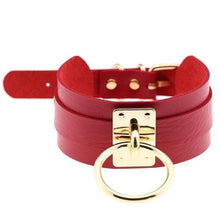 Kinky Cloth Red Wide Band Ring Collar