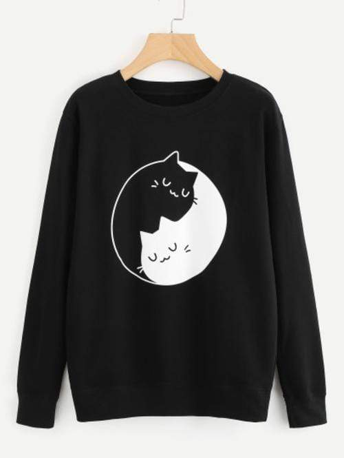Celeste Top L Ying Yang Kitty Sweatshirt