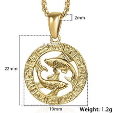 Kinky Cloth 200000162 GP368 Pisces / 18inch 45cm Chain Zodiac Sign Gold Pendant Necklace