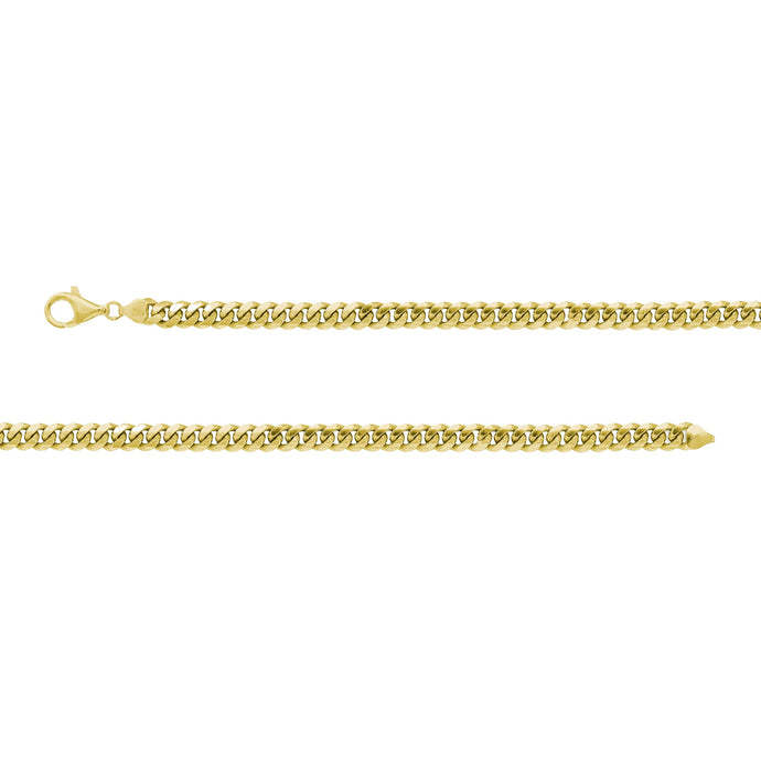 Franco Stellari Italian Sterling Silver Yellow Gold 2.8mm Cuban Link Chain
