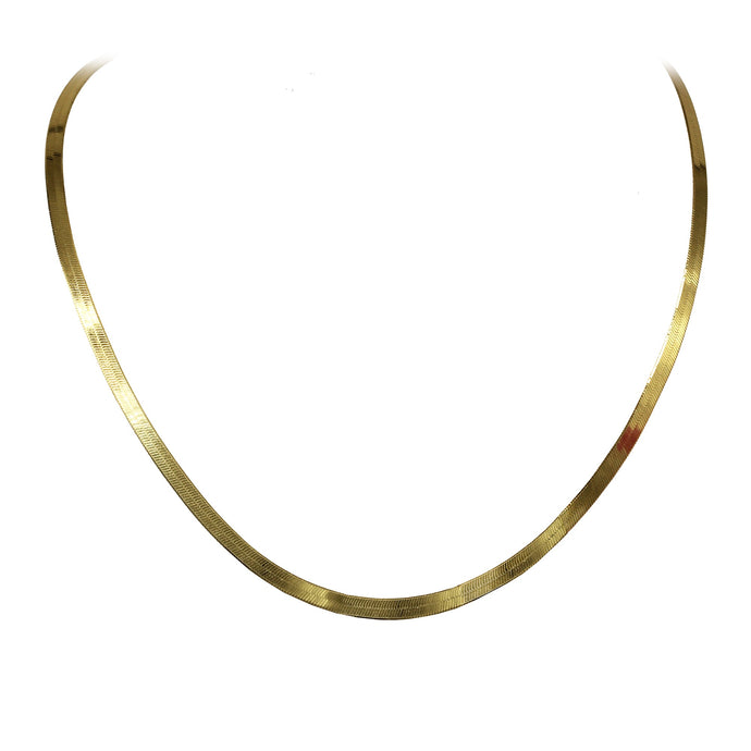 Franco Stellari Italian Sterling Silver Yellow Gold 3.6mm Herringbone Chain