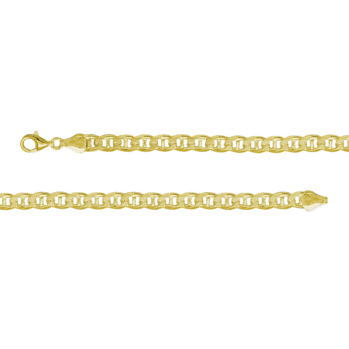 Franco Stellari Italian Sterling Silver Yellow Gold 4.8mm Mariner/Anchor Link Chain