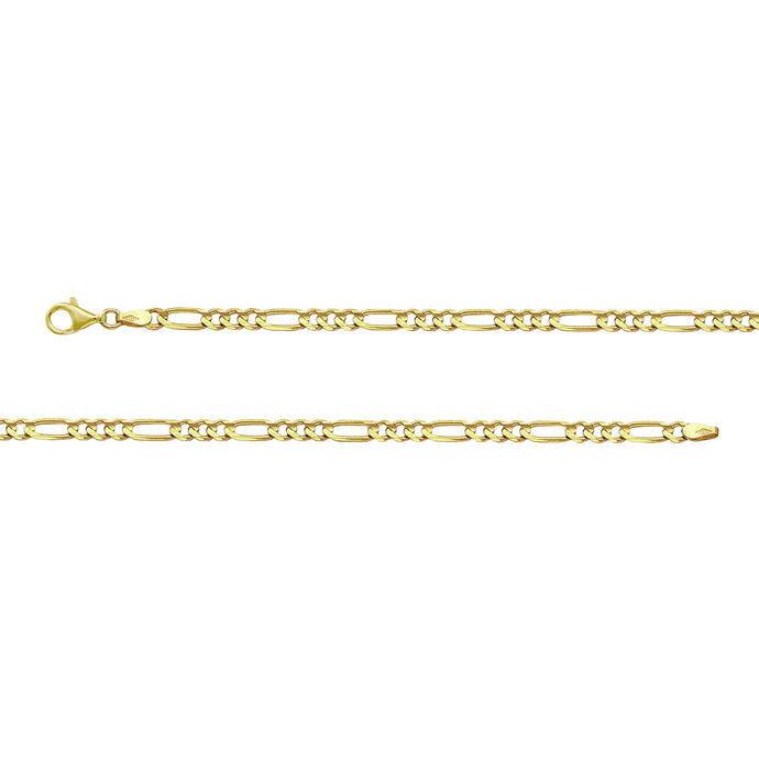 Franco Stellari Italian Sterling Silver Yellow Gold 3.2mm Figaro Link Chain