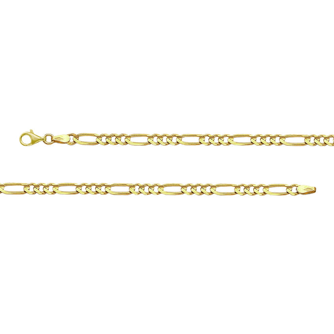 Franco Stellari Italian Sterling Silver Yellow Gold 4.0mm Figaro Link Chain