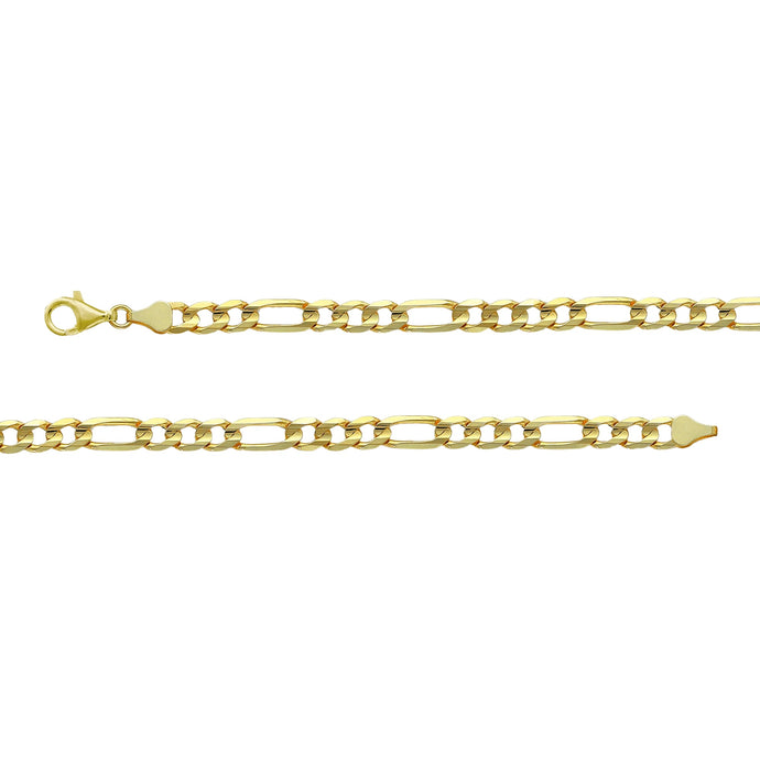 Franco Stellari Italian Sterling Silver Yellow Gold 4.5mm Figaro Link Chain
