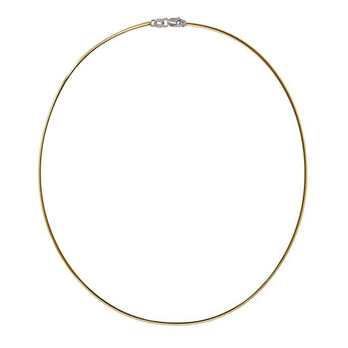 Franco Stellari Italian Sterling Silver Yellow Gold 2.0mm Omega Necklace