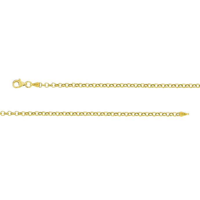 Franco Stellari Italian Sterling Silver Yellow Gold 4.2mm Rollo Link Chain