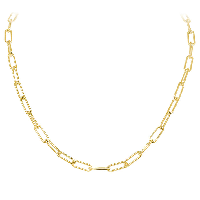 Franco Stellari Italian Sterling Silver Yellow Gold Paperclip Polished Open Link Necklace