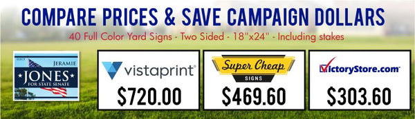 Yard Sign Prices for Much Less than the Big Guys