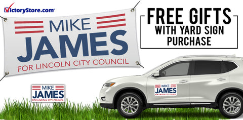 Free car magnets and banner with yard sign purchase