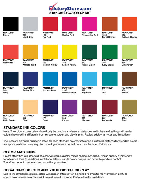 standard color chart victorystore