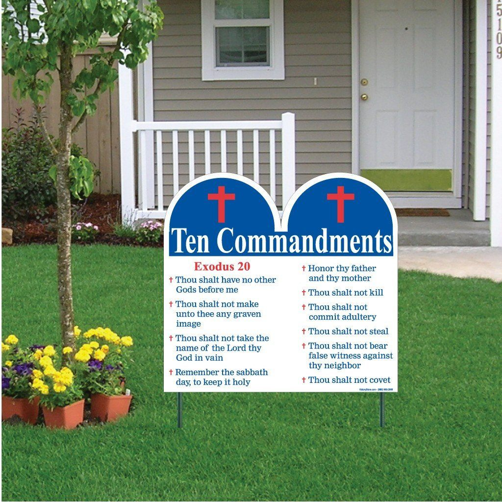 Ten Commandments Shaped Yard Sign with Stakes - Religious Yard Sign - FREE SHIPPING