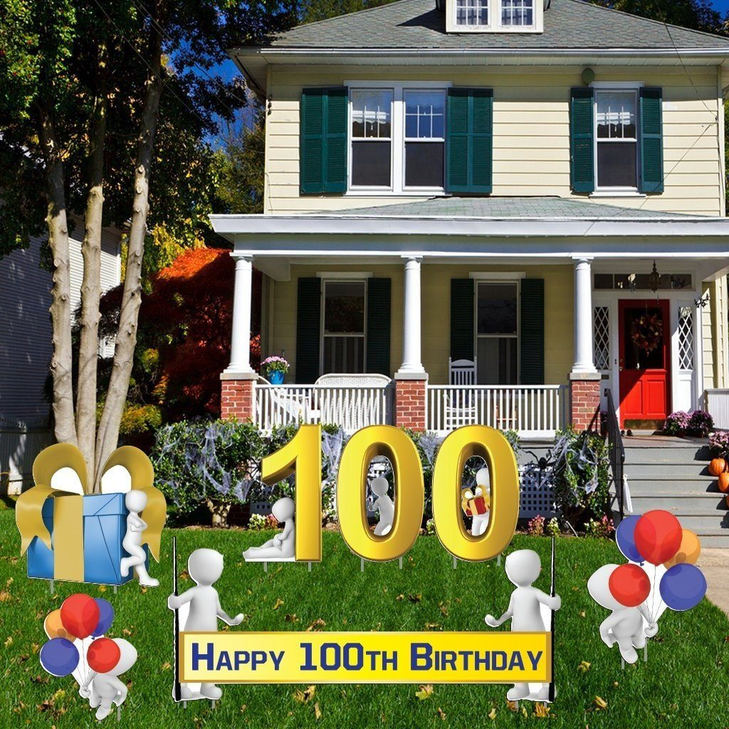 Happy 100th Birthday Yard Decoration- 100th Birthday - 16 Short Stakes