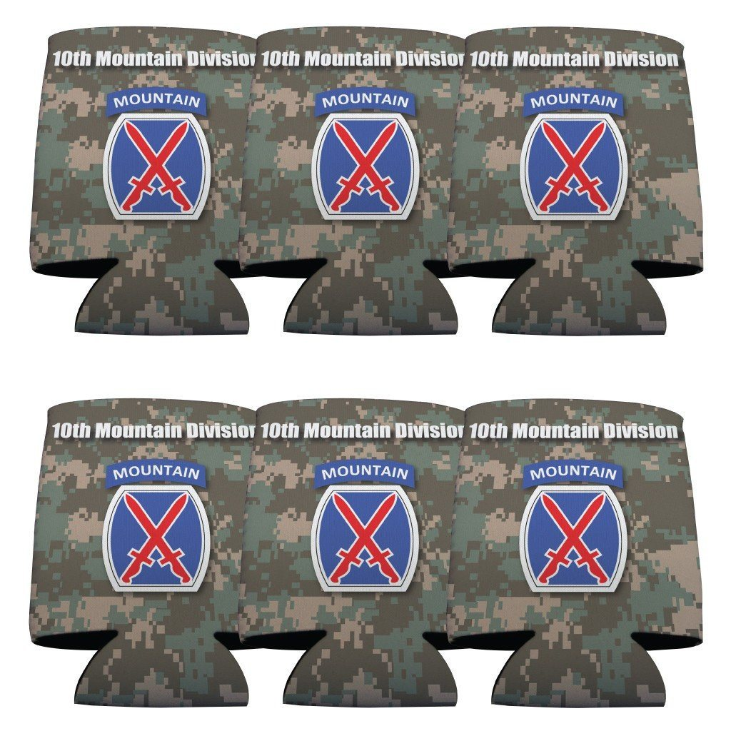 "A 6 pack of can coolers that say ""Military 10th Mountain Division"""