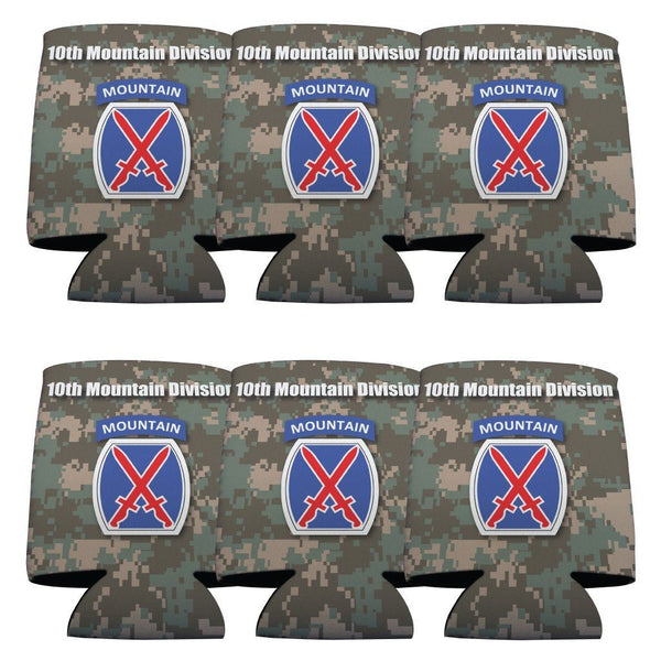 Military 10th Mountain Division Can Cooler Set -6 designs- Set of 6 -