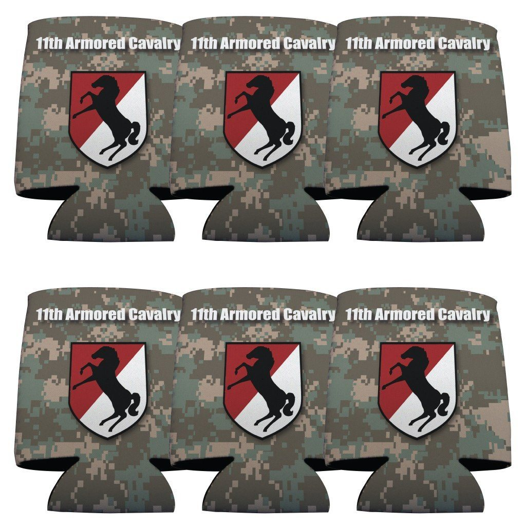 "A 6 pack of can coolers that say ""Military 11th Armored Cavalry Can cooler set"