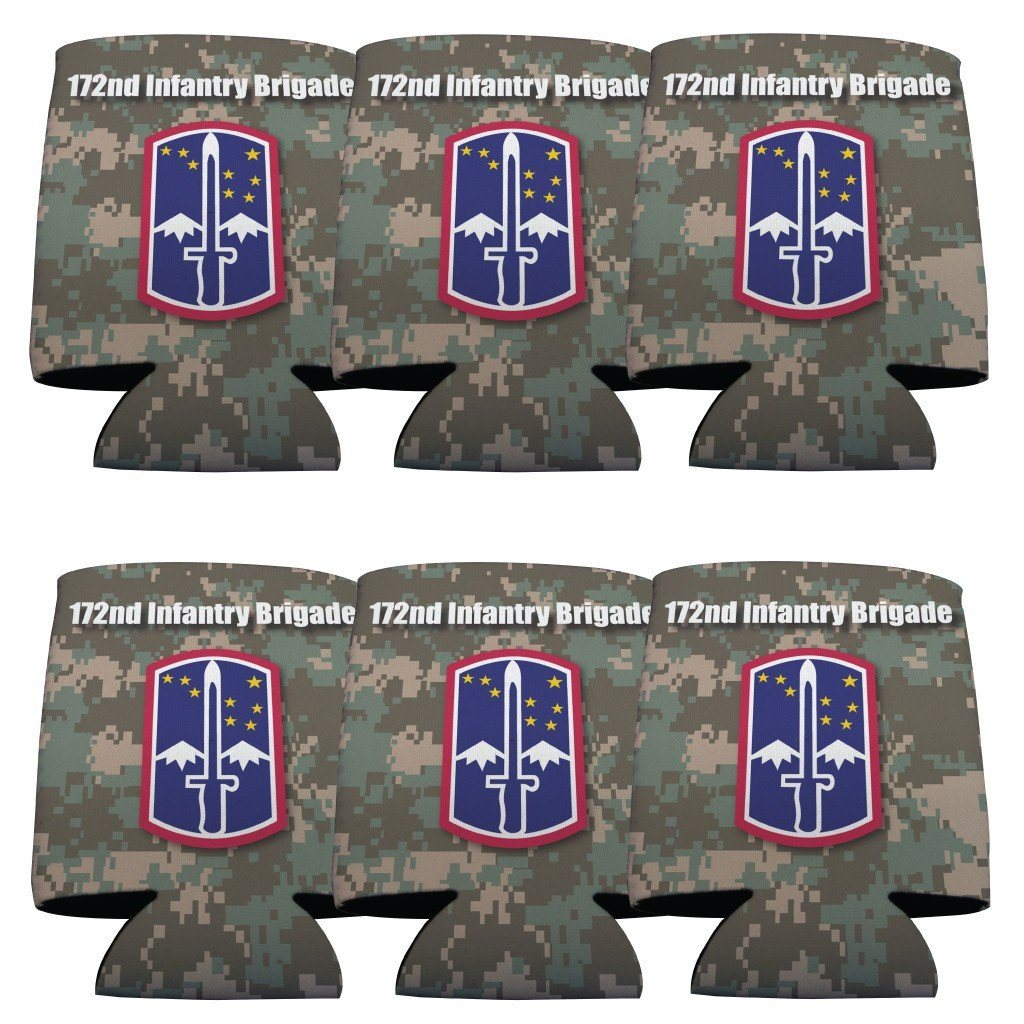 "A 6 pack of can coolers that says ""Military 172nd Infantry Brigade"""