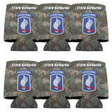 "A 6 pack of can coolers that say ""Military 173rd Airborne Division"""