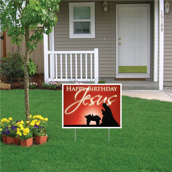 Happy Birthday Jesus (red gradient) Christmas Lawn Display - Yard Sign