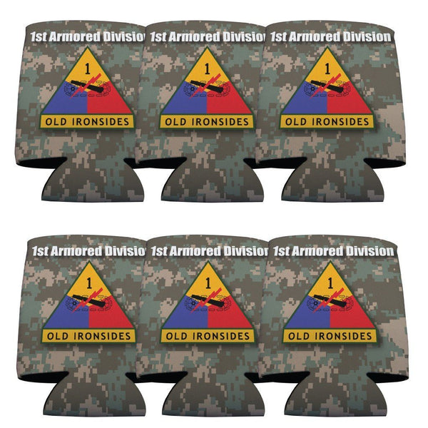 "A 6 pack of can coolers that say ""Military 1st Armored Division"""