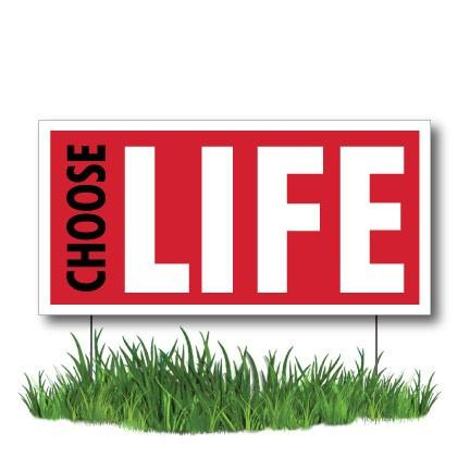 "Choose Life - ProLife 2-Pack 12""x24"" Corrugated Plastic Signs - FREE SHIPPING"