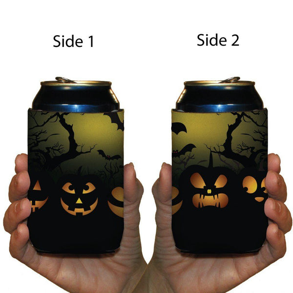 2 Halloween Jack-O-Lanterns Can Coolers