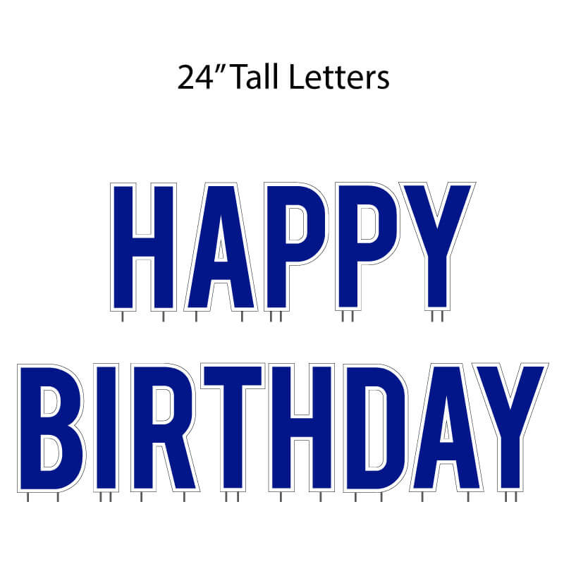 "Reflex Blue 24"" Tall Happy Birthday Yard Letters - Bebas - 13 pc set (12636)"