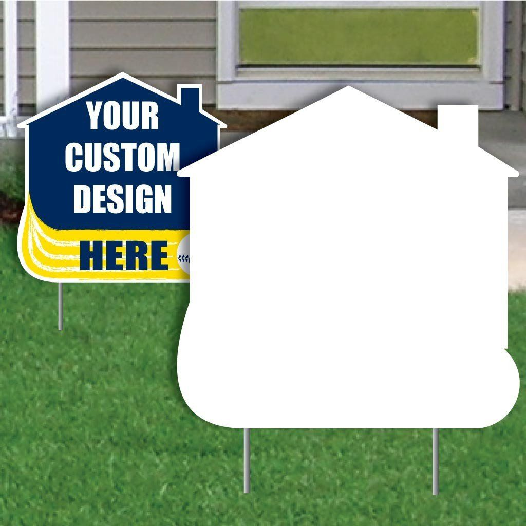 House with Swoosh 4 mil Corrugated Plastic Yard Sign Blank