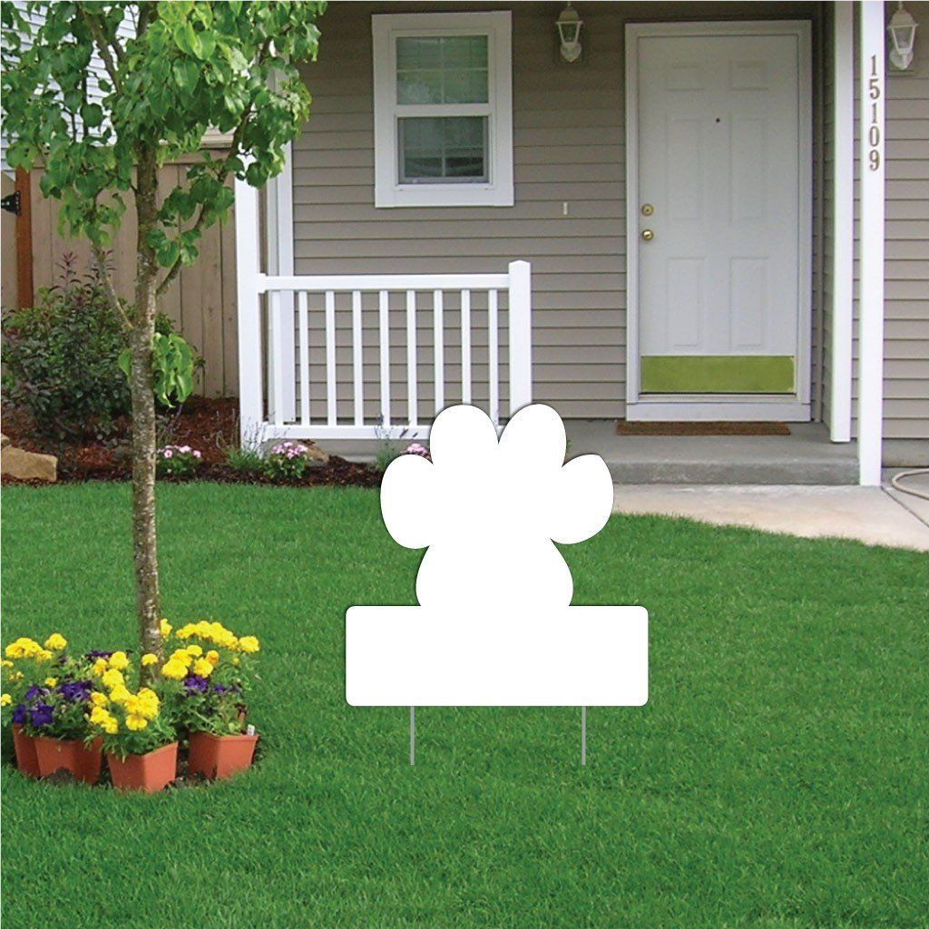 Pawprint with Rectangle 4 mil Corrugated Plastic Yard Sign Blank