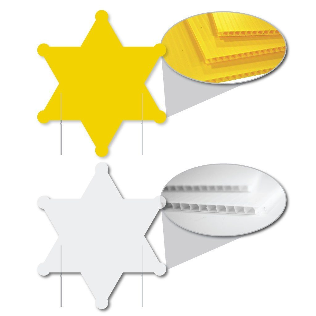 Sheriff Star 4mm Corrugated Plastic Yard Sign Blank - White or Yellow