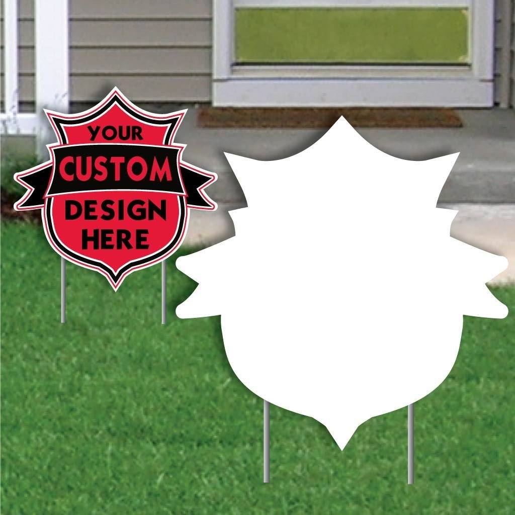 Shield with Banner Corrugated Plastic Yard Sign Blank