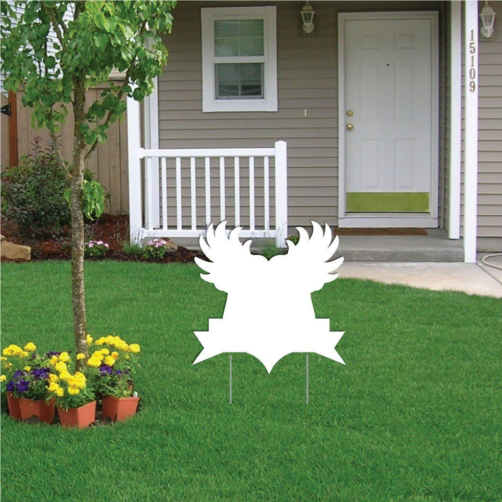 Shield with Wings Corrugated Plastic Yard Sign Blank