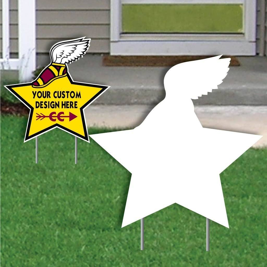 Star with Winged Shoe Corrugated Plastic Yard Sign Blank