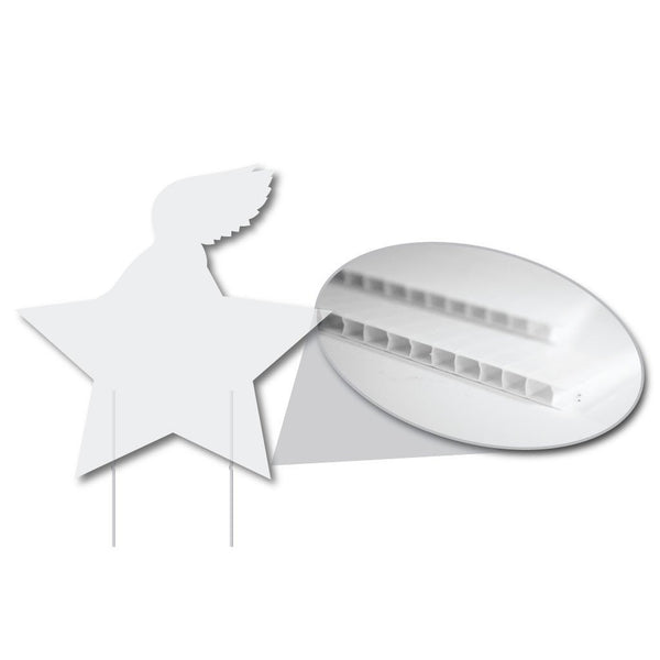 Star with Winged Shoe 4 mil Corrugated Plastic Sign Blank
