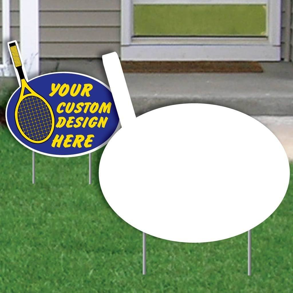 Stick with Oval 4 mil Corrugated Plastic Yard Sign Blank