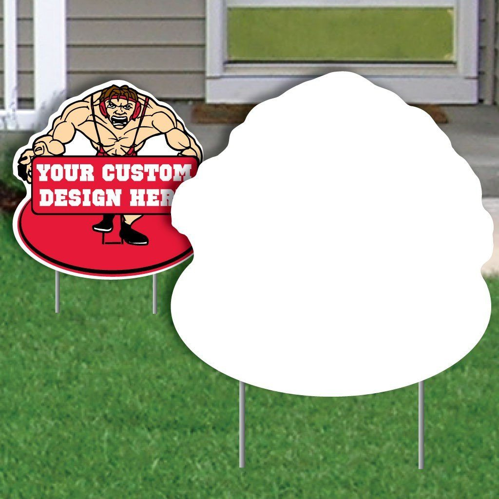 Wrestler with Banner 4 mil Corrugated Plastic Yard Sign Blank