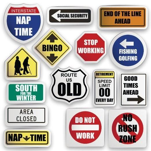 Retirement Themed Yard Decoration Set - Retirement Road Signs - FREE SHIPPING