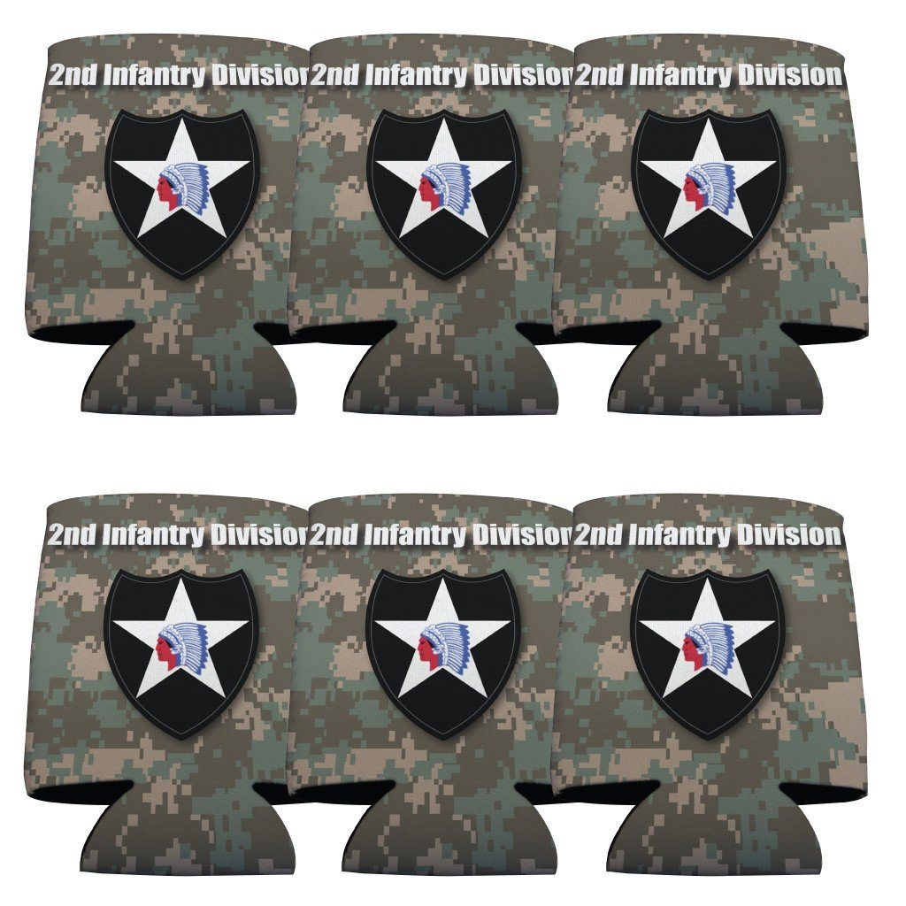 Military 2nd Infantry Division Can Cooler Set of 6 - 6 Designs - FREE SHIPPING