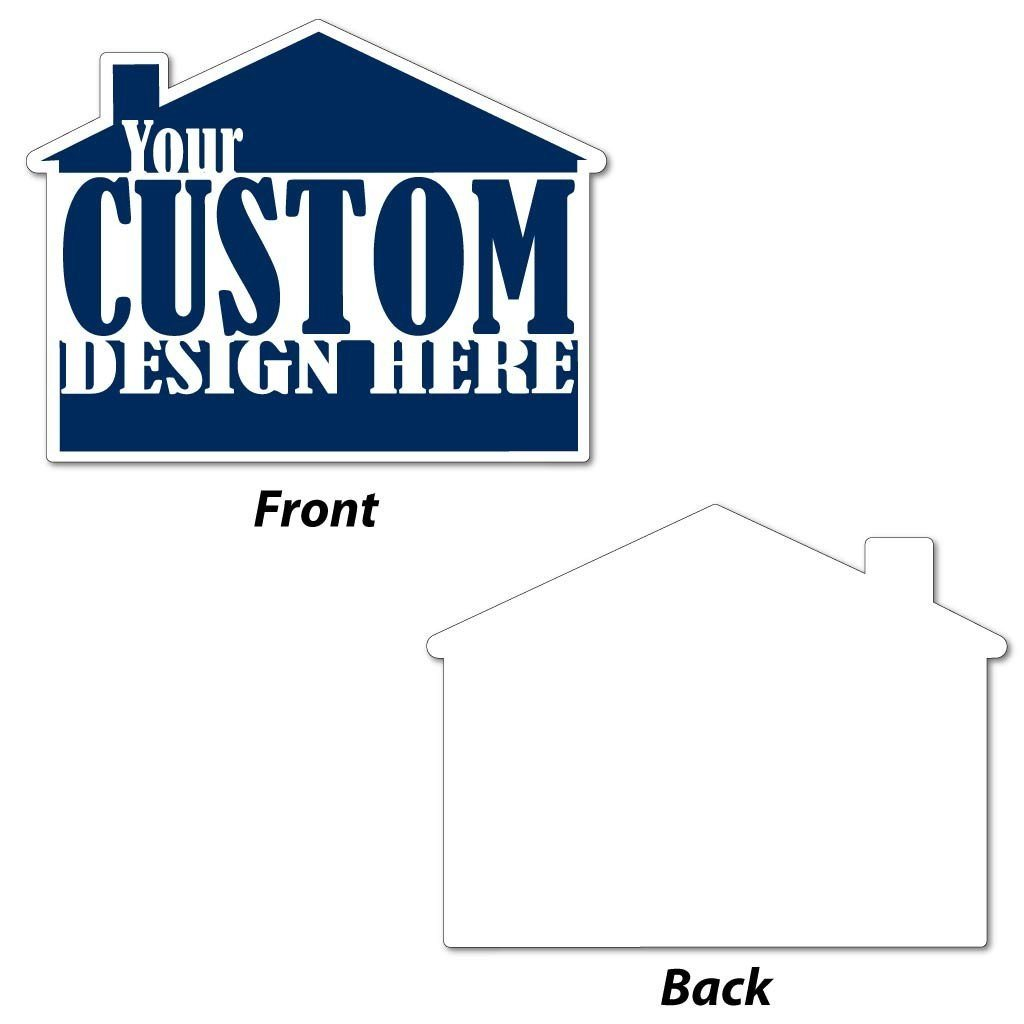 the front and back of a custom printed house shaped yard sign