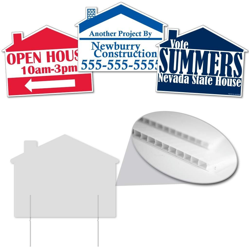 three custom printed house shaped yard signs