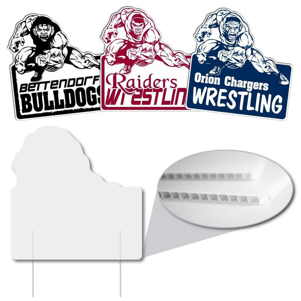 "Intimidating Wrestler Shaped Sign - 21.6x22"" - Corrugated Plastic"