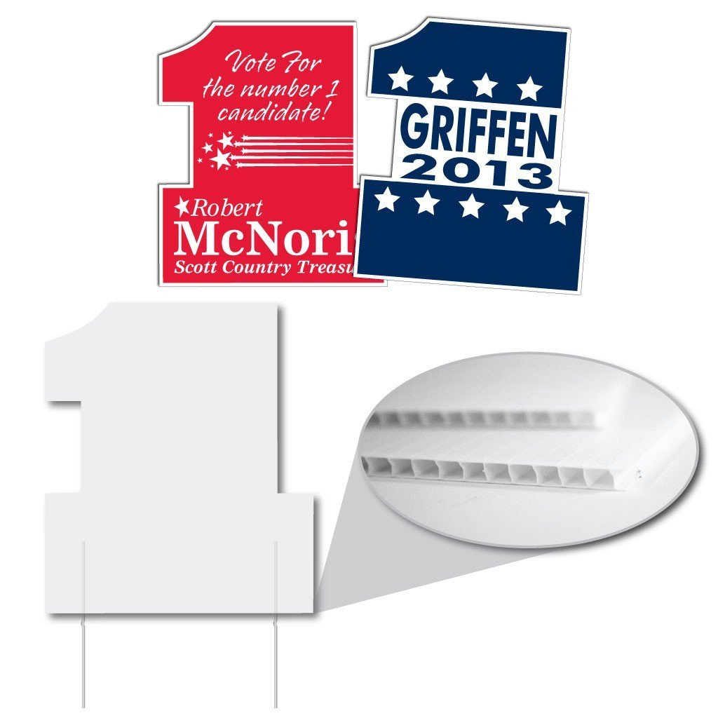 two custom designed yard signs that are shaped like '1'