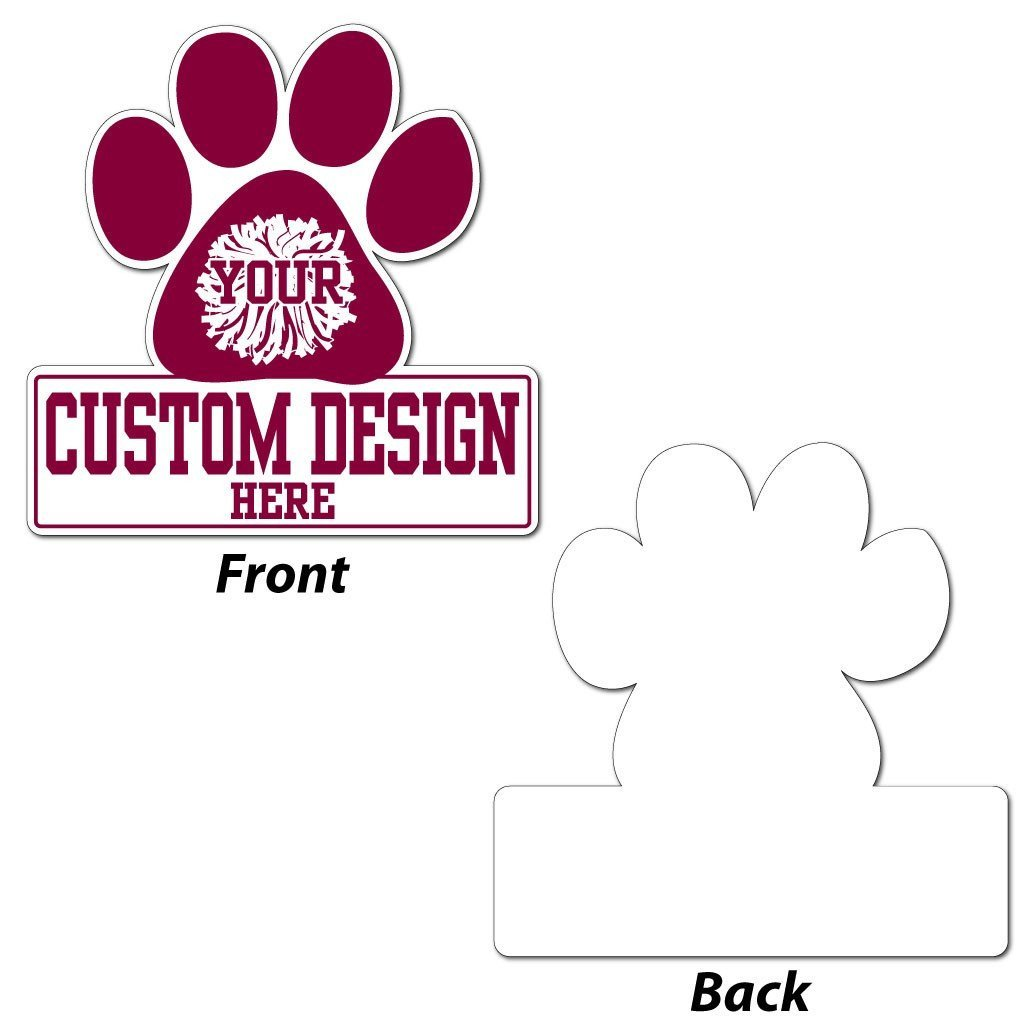 the back and front of a paw shaped yard sign