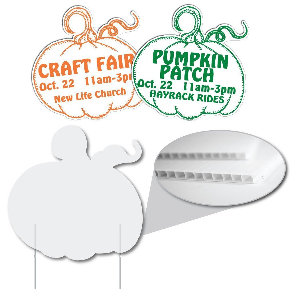 "Pumpkin Shaped Yard Sign - 22x22"" - Corrugated Plastic"
