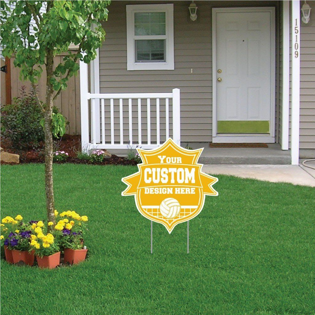 "Shield with Ribbon Shaped Yard Sign - 22"" Corrugated Plastic"