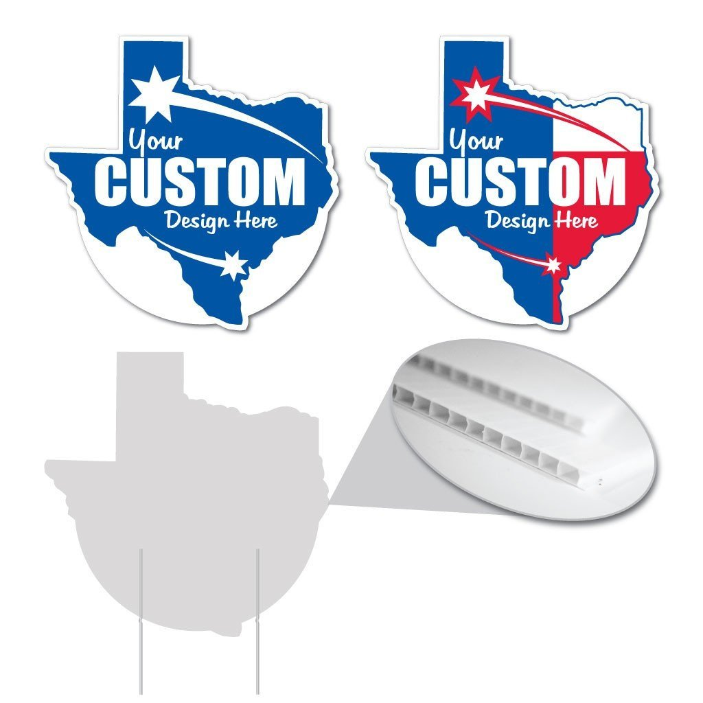 "Texas State Shaped 22""x22"" Corrugated Plastic Yard Sign"