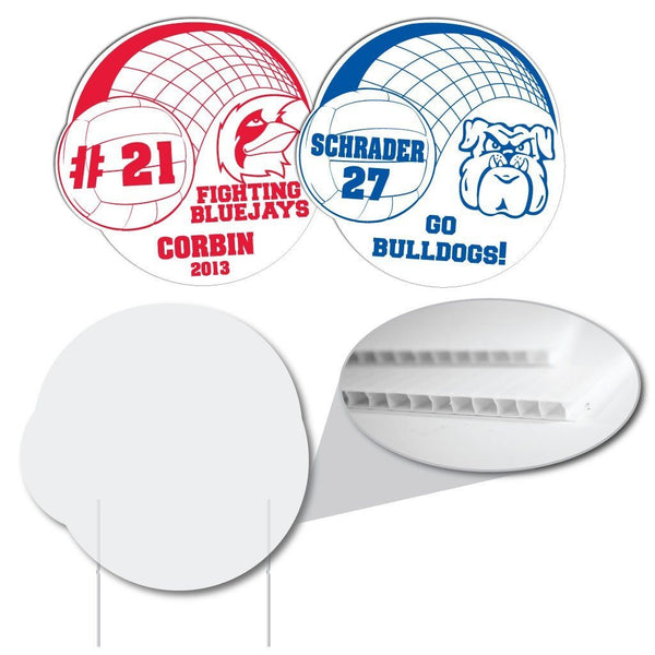 Volleyball Double Circle Sign - Corrugated Plastic